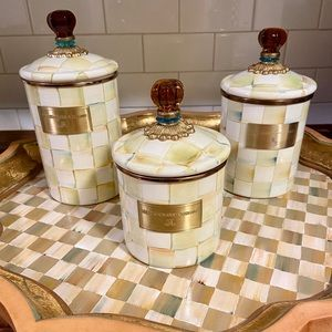 Mackenzie-Childs Parchment Check Canister Set of 3